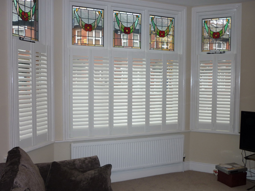 Manchester plantation shutters quality shutters discount for Discount bay windows